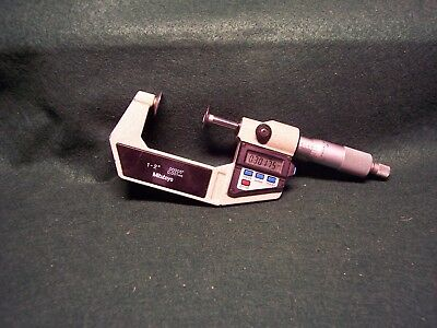 Mitutoyo Electronic 1-2 Disc Micrometer. .00005.001mm Resolution. Spc Output.