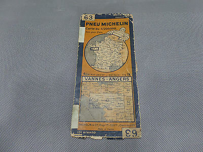 Card Michelin 63 Valves-Angers 1930/Collector Bibendum Vintage