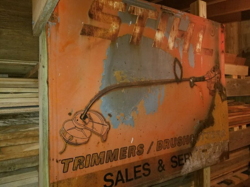 Vintage Stihl Chain Saws Sales and Service Store Display sign weedeater trimmer