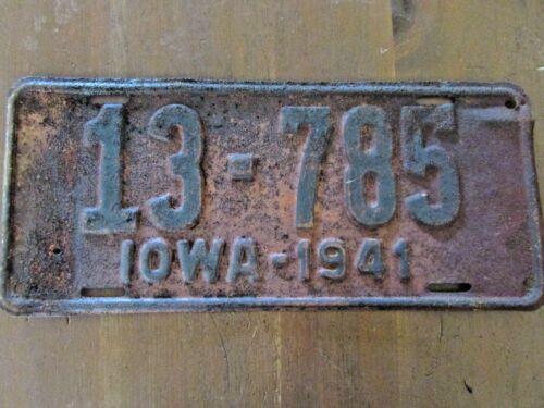 1941 Iowa license plate metal  13-785