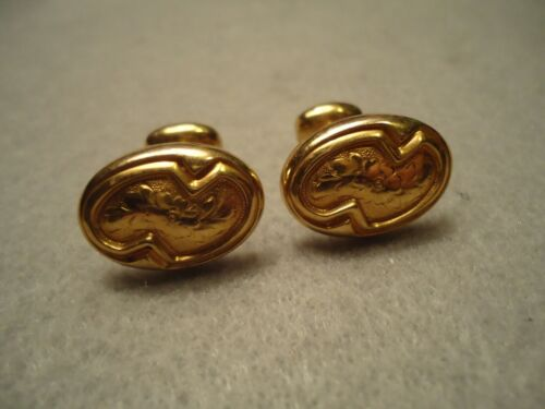 Vintage Victorian Flower Etched Yellow Gold Filled Ladies or Gents Cufflinks