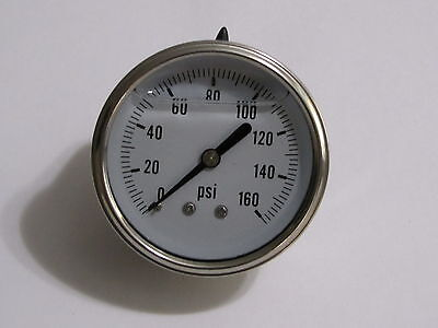New Hydraulic Liquid Filled Pressure Gauge 0-160 Psi 14 Npt Center Back Mount