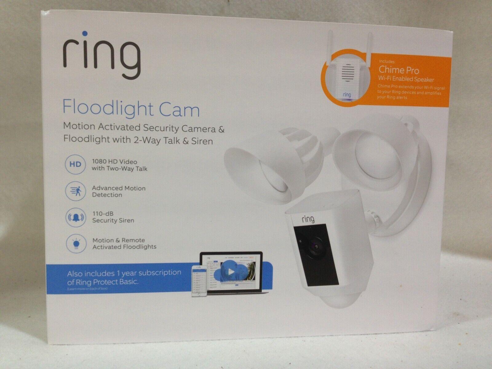 RING Floodlight Camera W/ Bonus Chime Pro & 12 Months Ring V