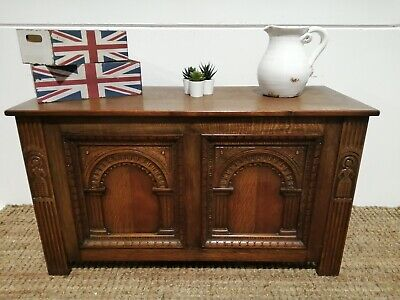 Antique vintage Jacobean Style Inlaid Carved Solid Oak Coffer trunk