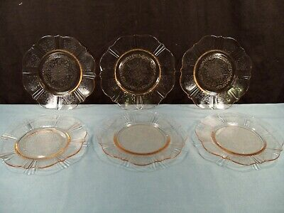 6 Macbeth Evans AMERICAN SWEETHEART Pink Depression Glass Bread & Butter Plates