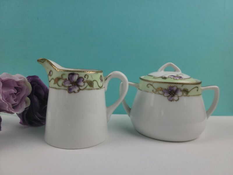 Nippon Cream and Sugar Set - Hand Painted Floral