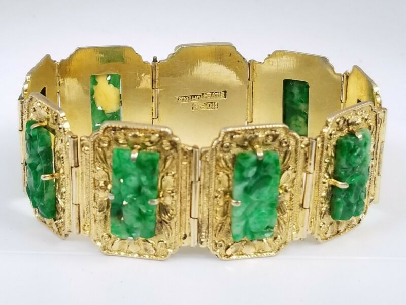 Antique Jadeite Jade Chinese Carved Gold Gilt Silver Bracelet Womens