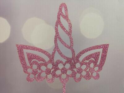 Tortenaufsatz Caketopper Cake Topper Einhorn mit Blumen aus Glitzeracryl Pink