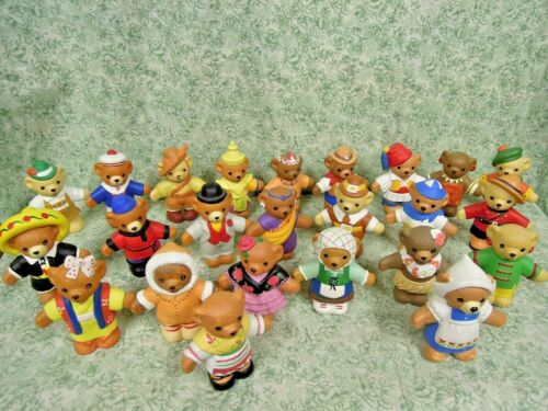 "LC-1122  Teddy Bear Collection of figurines:  WORLD PEACE BEARS (24); 3.5"" tall"