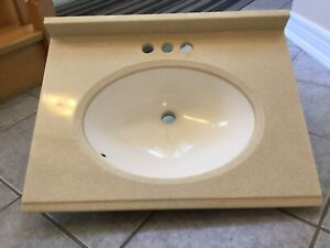 """24.5"""" w x 18.5 """" d solid surface vanity top with sink"""