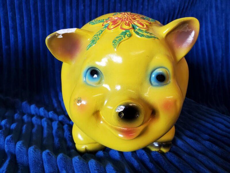Vintage/Rare Silvestri Bros. 1966 Large Yellow Piggy Bank