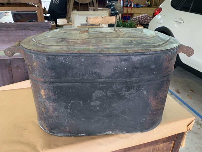 Antique Copper Boiler Wash Tub with Matching Copper Lid & Wood Handles