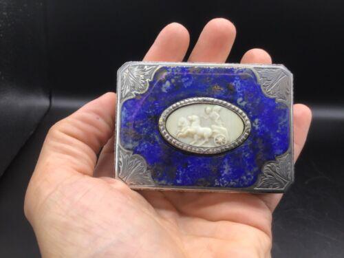 Antique 800 silver, enamel and bone continental snuff box