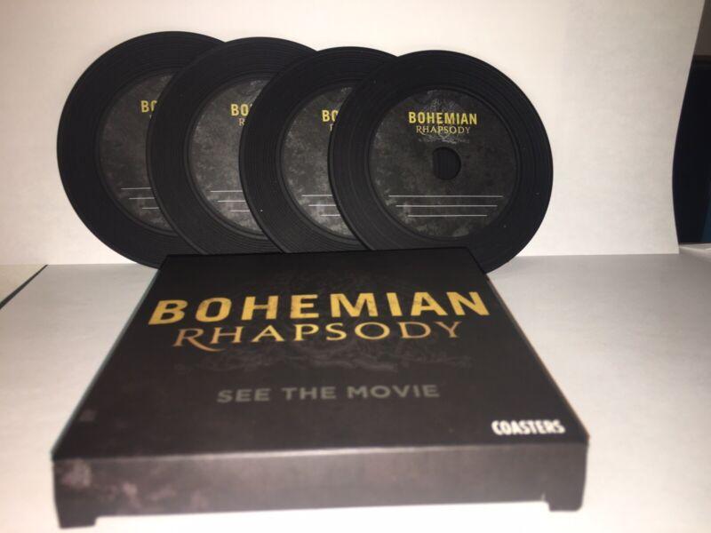 QUEEN BOHEMIAN RHAPSODY MOVIE SWAG: Vinyl Looking Drink Coasters: NEW