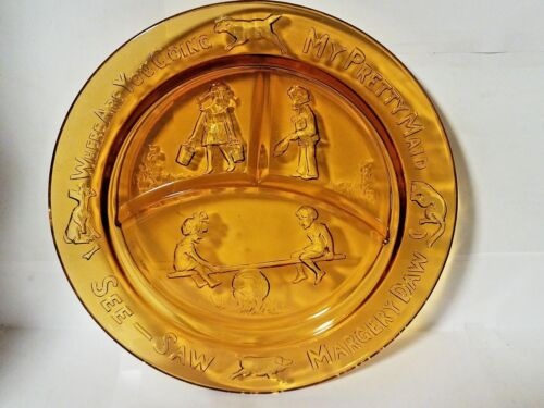 """Collectible Child Nursery AMBER Divided 8.5"""" PLATE My Pretty Maid SEE-SAW"""