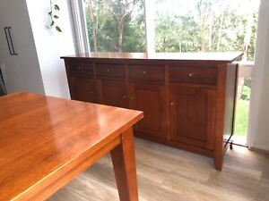 Solid timber dining table and matching sideboard - very good quality