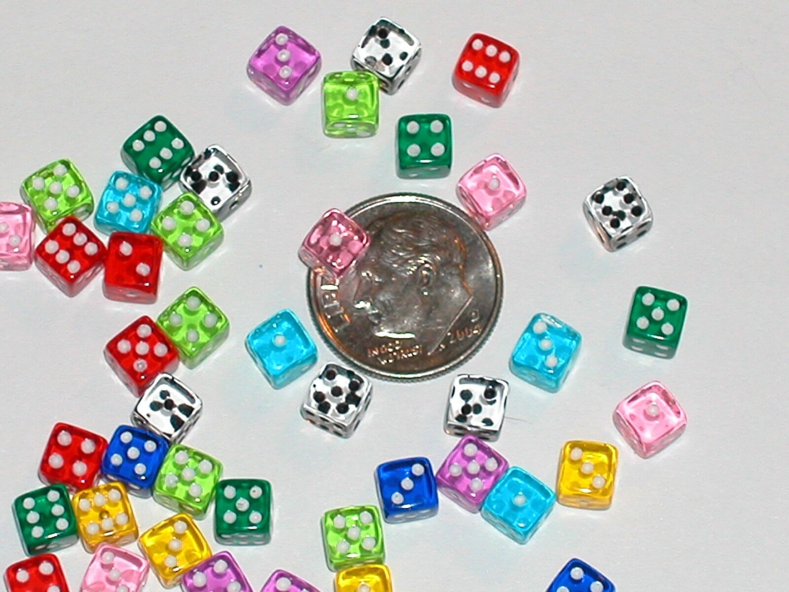 8pc Lot Tiny Miniature Dollhouse Dice Die Charm Miniatures Findings 5mm No Hole - $7.95
