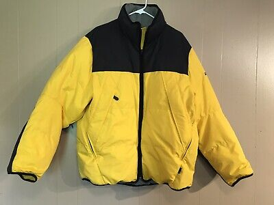 Nautica Competition Down Puffy Jacket Yellow Black Ski Size Large