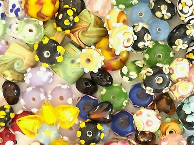 NEW 1/4 Pound Mixed Colors Assorted Lampwork Glass Beads WHOLESALE Bulk Lot - Lampwork Glass Beads