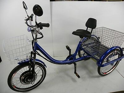 Blue Motorized electric three wheels tricycle, adult scooter, motorized trike