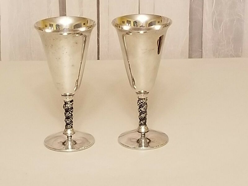 ANTIQUE F.B. ROGERS SILVER PLATE WINE GOBLETS MADE IN SPAIN SET OF 2