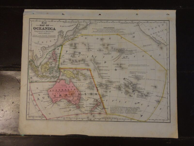 1840 Hand Colored Engraved Map of Oceanica from Mitchell