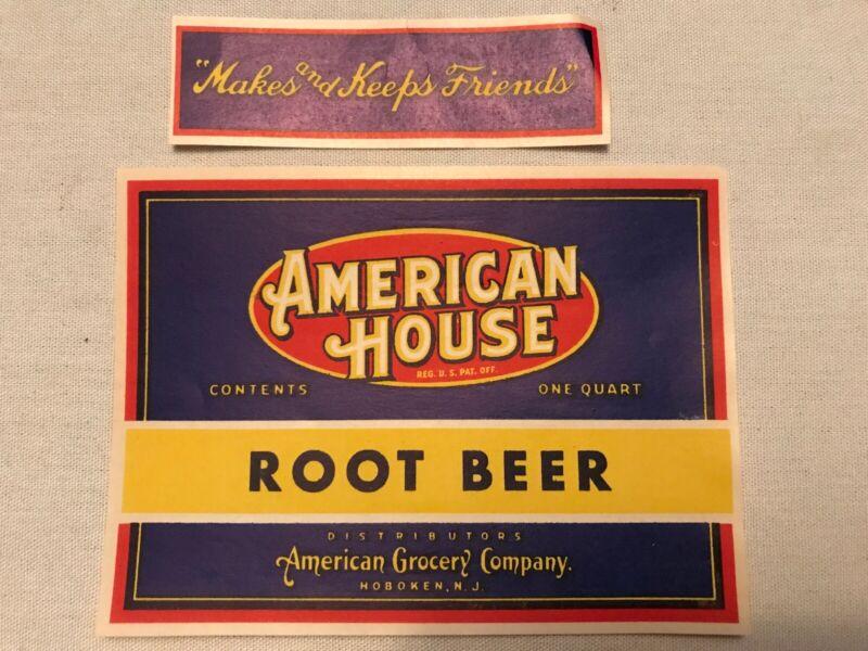 American House Root Beer Vintage Label, American Grocery, Hoboken, N. J.