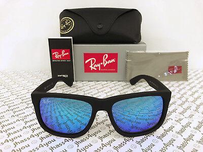 Ray-Ban Justin RB4165 622/55 Wayfarer Sunglasses/Matte Black/Blue Mirror 54mm