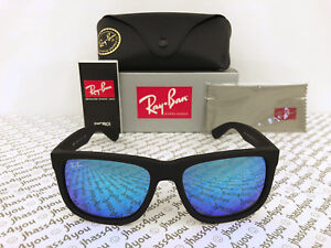 89cd3edb82 Ray-Ban Justin RB4165 622 55 Wayfarer Sunglasses Matte Black Blue Mirror