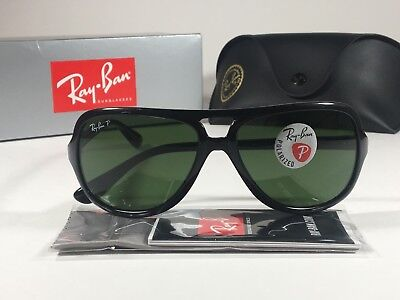 f62859cd861 New Authentic Ray-Ban Polarized Turbo Aviator Sunglasses Black Green Men  RB4162