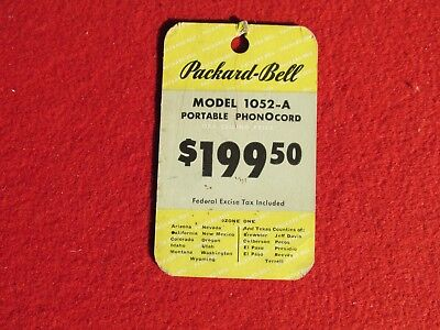 1946 Packard Bell Model 1052-A  hanging descriptive price tag Radio Phonograph  for sale  Santa Rosa