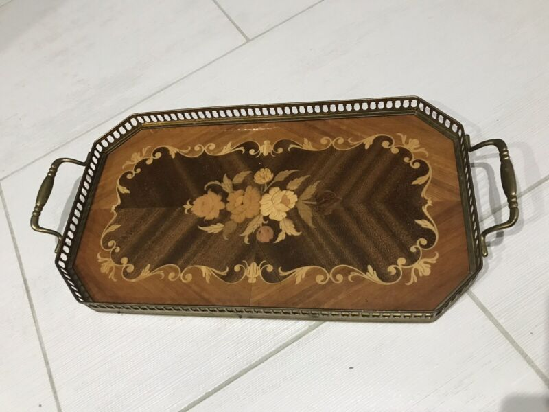 Vintage Wooden Serving Tray With Metal Handles