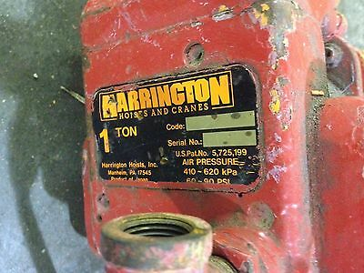 Harrington 1 Ton Pneumatic Hoist 50 Chain