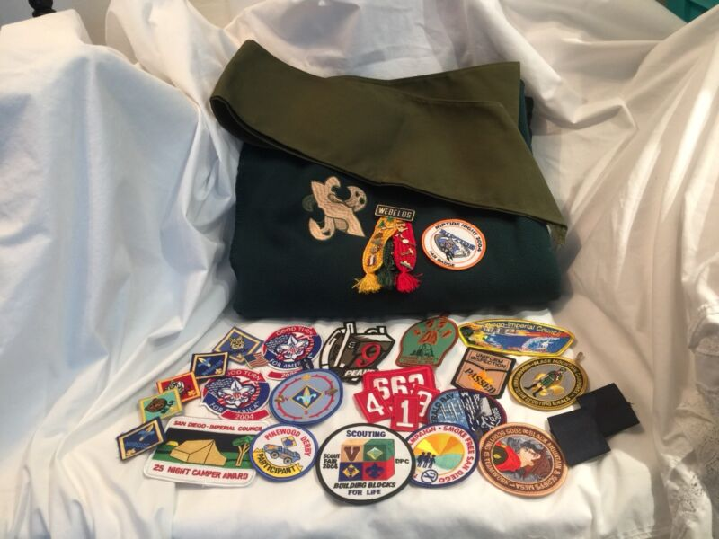 Large lot BSA Boy Scout Patches Pins Sash Blanket