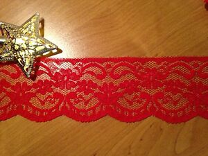 (1mtr) 60mm Red Lace Trim with Floral Design and Scalloped Edge,  Dressmaking