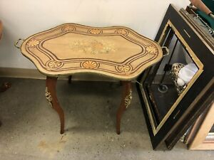 Antique French marquetry tray topped coffee side accent table