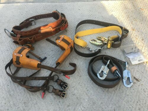 Buckingham Lineman Pole climbing gear pkg w/adj spikes belts sz 22//24/25/28