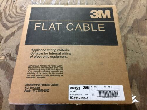 3M 3625/24 Ribbon Cable, Round Conductor Flat, 24, 28 AWG, 1 mm, 328.08 ft, 100m