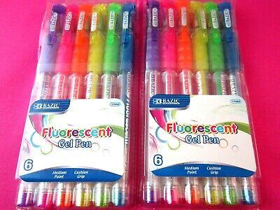 Fluorescent Gel Pen Medium Point Neon Metallic Colors 2 Packs Lot 6 Pens Each