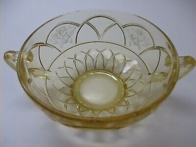 CREAM SOUP BOWL Rosemary Dutch Rose Amber Depression Glass Pattern Two Handles