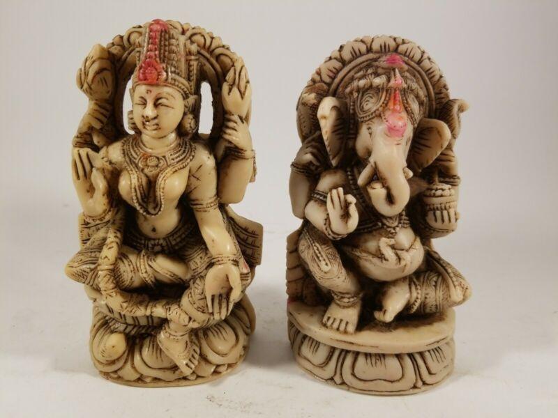 "Vintage Set. Two Statues Of Ganesha and Lakshmi Hindu Gods.  5.5"" tall."