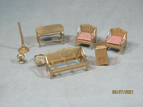 LOT OF GOLD TOOTSIETOY MINIATURE DOLL FURNITURE! SOME GOOD, SOME NEED REPAIRS