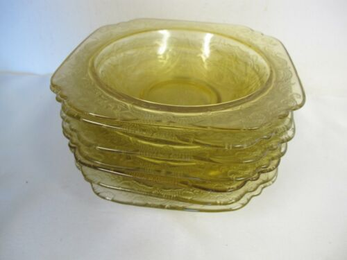 VINTAGE FEDERAL GLASS MADRID BOWLS (7)  DEPRESSION AMBER YELLOW RECOLLECTIONS
