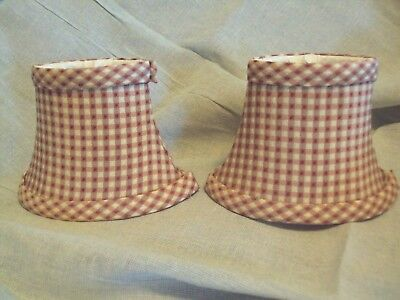 Red Yellow White Gingham Striped Design 6  Mini Clip On Oval Lamp Shade Set Of 2