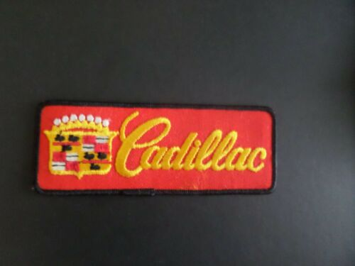 """VINTAGE CADILLAC"""" GOLD & RED EMBROIDERED IRON ON PATCHES 2 X 5-3/8"""