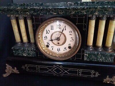 SETH THOMAS Mantel 6 Pillar Working Antique Clock w/Lions on Sides