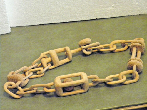 "AMAZING 39"" HAND CARVED WOODEN CHAIN CARVED FROM 1 PIECE OF WOOD WITH NO BREAKS"