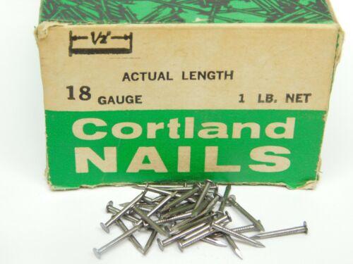 "1Lb WIRE NAILS BOX #18 GA x 1/2"" LONG PLAIN STEEL 7/64"" HEAD DIAMETER ES"