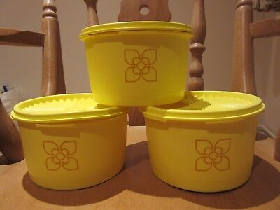 70s Vintage Retro Tupperware Harvest Cake Storage Tubs Containers Fan Lid Yellow