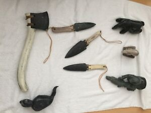 Inuit Soap Stone, caribou bone 12 items collection